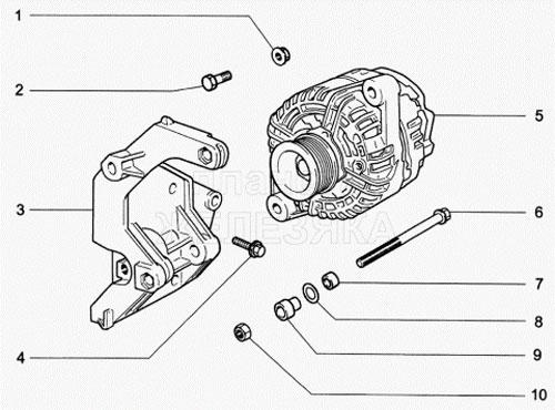 Схема установки генератора на Ладе Гранта